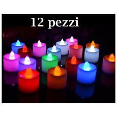 12pz Candela A Led Rgb Lampada Cambia Luce Multicolore Batteria Inclusa