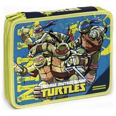 Astuccio Maxi Turtles con colori, pennarelli ed accessori scuola