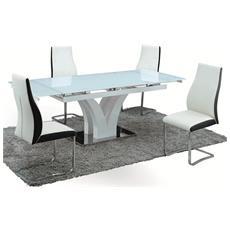 Tavolo design allungabile - in legno laccato bianco