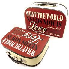 set di 2 valigie di legno 'love sweet love' beige rosso - [ l1953]