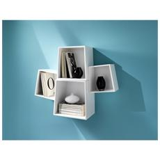 Set 4 Cubi Da Parete Realizzati In Mdf Laccato Mod. Rocket White Cod. 1732