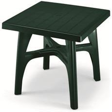 Tavolo Da Esterno Quadromax Smontabile Cm 80x80 Verde In Resina. Traversa Centrale Anti Oscillazione, Con Piedino Regolatore, Foro Per Ombrellone - 1066