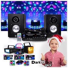 Pack Kids Karaoke 150w Usb Sd Bluetooth + Pack Nero Scuro 4 Illuminazione Gioco