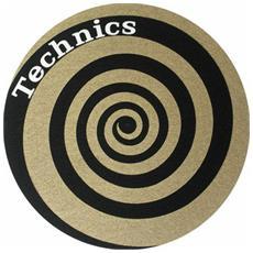 Coppia Panni Antistatici Feltri Giradischi Slipmats Technics Twin Set Spiral Oro