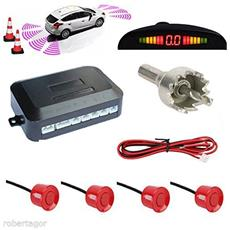 Kit 4 Sensori Di Parcheggio Con Display Led Cicalino Suono Rossi Rosso