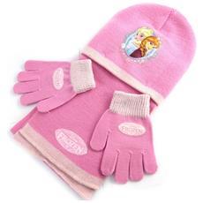 bambino insieme 'frozen - ' rosa (guanti + cappello + sciarpa) - [ n0491]
