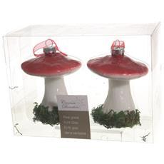 2 Funghetti Appendibili In Vetro Addobbi Natale Albero Decorazioni