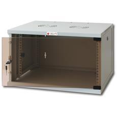 """Armadio Rack 19"""" a Muro 6U prof. 600 Grigio Assemblato I-CASE ER-1006G60"""