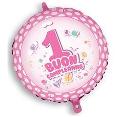 Palloncino Mylar Buon 1° Compleanno Rosa Ø 45 Cm