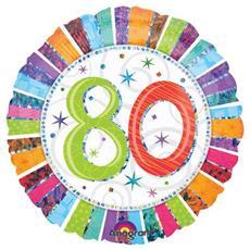 Palloncino Compleanno Mylar 80 Anni Radial 45 Cm *24252