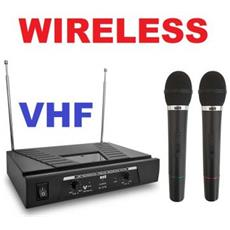 Coppia Microfoni Wireless Radiomicrofoni Senza Filo Vhf Karaoke