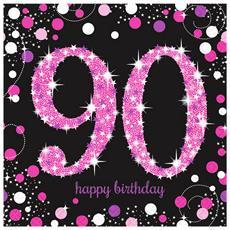 Sparkling Pink Celebration Tovaglioli Di Carta Per I 9 Anni Pacco Da 16 (33 Cm) (nero / rosa)