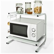 Mensola Per Forno A Microonde, Mensola Da Cucina, mensola In Metallo E Legno. bianco, frg092-w