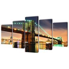 5 Pz Set Stampa Su Tela Da Muro Ponte Di Brooklyn 200 X 100 Cm