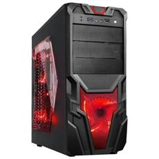 Case Gaming Laterale Trasparente, Ventola 32Led Usb 3.0 Rosso