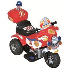 Moto Elettrica Police Rossa con Luci e Suoni 6 Volt 00115018