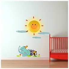 Lampada Da Muro Sole Luce Notturna Cameretta Bimbi Adesivi Da Parete Sticker 3d