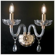 I-RIFLESSO / AP2 ORO - Applique Finiture Oro Cristallo Gocce Trasparente Lampada da Parete Classica E14