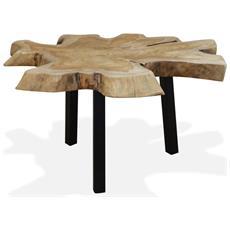 Tavolino Da Caffè In Autentico Legno Di Teak 80x70x38 Cm
