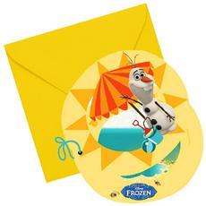 Frozen - Olaf - 6 Inviti Con Busta
