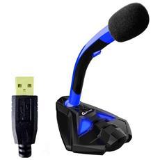 Microfono Klim Desktop Usb Con Stand Per Computer Laptop Pc – Microfono Gaming Videogiochi Ps4 (blu)
