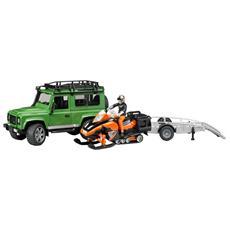 Land Rover Defender Station Wagon con Rimorchio e Motoslitta