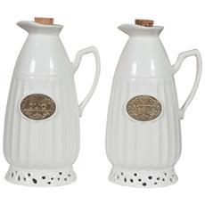 Coppia Set Olio Aceto In Porcellana Bianca Shabby L11,5xpr9,5xh18 Cm Cad.