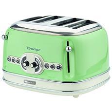 156 Tostapane Vintage 4 Fette, 1600 Watt, 6 Livelli Di Tostatura, In Acciaio Inox Verniciato In Colore Verde Pastello; Senza Pinze