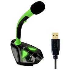 Microfono Klim Desktop Usb Con Stand Per Computer Laptop Pc - Microfono Gaming Videogiochi Ps4 (verde)