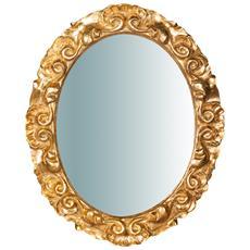 Specchiera Da Parete In Legno Finitura Foglia Oro Anticato Made In Italy L25xpr2,5xh31 Cm