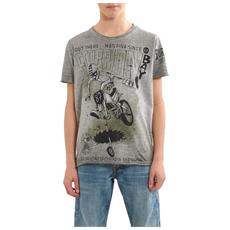 T-shirt Stampa Motociclista Jr Grigio L