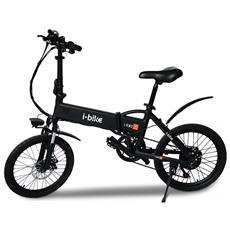 """Bicicletta Elettrica Pieghevole Ruote 20"""" Colore Nero"""