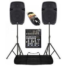 """Impianto Audio Amplificato Completo 2 Casse Abs 800w 10"""" + 1 Mixer + 2 Stativi Con Borsa + 2 Cavi Art. Set178024mix"""