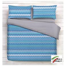 Parure In Cotone Sacco Copripiumino Letto 1 Piazza E Mezza Fantasia Onde Colore Blu Prodotto In Italia