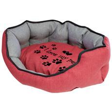 Cuccia Imbottita, comoda Per Cani Misure: 50x40xh19 Cm. colore Rosso