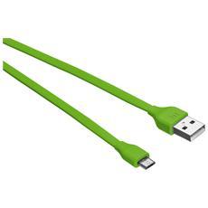 Cavo piatto da Micro-USB a USB 1 m per caricare e sincronizzare lo smartphone - Verde