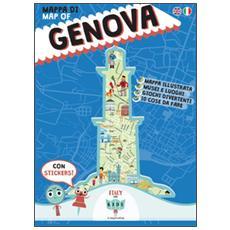 Mappa di Genova illustrata. Con adesivi. Ediz. italiana e inglese