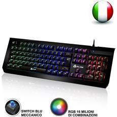 Tastiera Meccanica Italiana Rgb - Nuova - Switches Blue - Digitazione Rapida, Precisa, Confortevole - 5 Anni Di Garanzia - Gaming