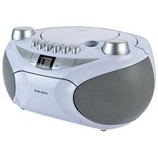 Ah2478 Bianco Lettore Cd Mp3 Portatile Bluetooth Registratore Cassette