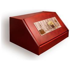 Portapane Con Decoro In 'yellow Roses Noce' In Legno Noce Dalle Dimensioni Di 30x40x20 Cm