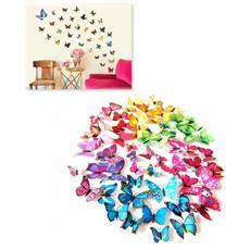 Kit 12 Farfalle 3d Adesivi Per Pareti Vari Colori Decorazionee - Giallo