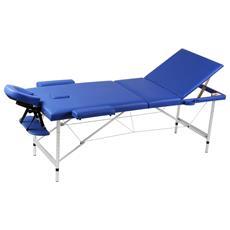 Lettino Pieghevole Da Massaggio Blu 3 Zone Con Telaio Alluminio