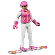 Snowboarder Donna con Accessori Scala 1:16