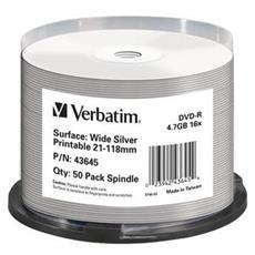 DVD-R Wide Silver Inkjet Printable No ID Brand, DVD-R, Argento Opaco, Cyanine / Azo Dye, Fuso