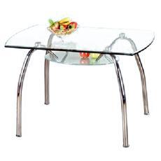 Tavolo da cucina in acciaio con vetro trasparente 120x70 cm