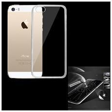 Cover Tpu Silicone Trasparente + Pellicola Vetro Temperato Per Iphone 5