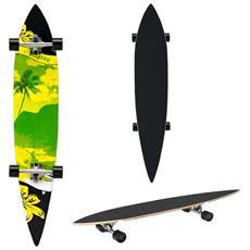 Longboard (116 X 22 X 12 Cm) (abec 7 - Cuscinetti A Sfera) (verde - Giallo - Fantasia Con Le Palme) Skateboard / Tavola Da Surf / Tavola Vintage