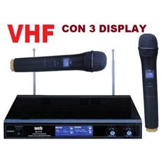 Coppia Microfoni Wireless Vhf Pro Con 3 Display Bi-canale