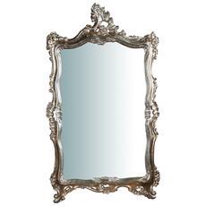 Specchiera Da Parete In Legno Finitura Foglia Argento Anticato Made In Italy L66xpr5,5xh118 Cm