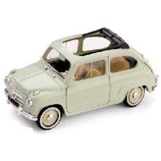 Bm0248-06 Fiat 600 Convertibile Aperta 1956 Bleu Scuro 1:43 Modellino
